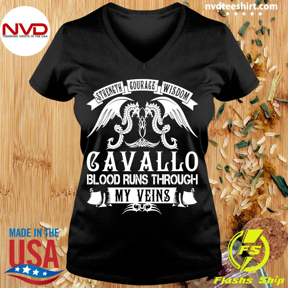 Funny Dragon Strength Courage Wisdom Cavallo Blood Runs Through My Veins T-s Ladies tee