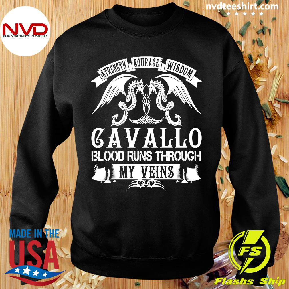 Funny Dragon Strength Courage Wisdom Cavallo Blood Runs Through My Veins T-s Sweater