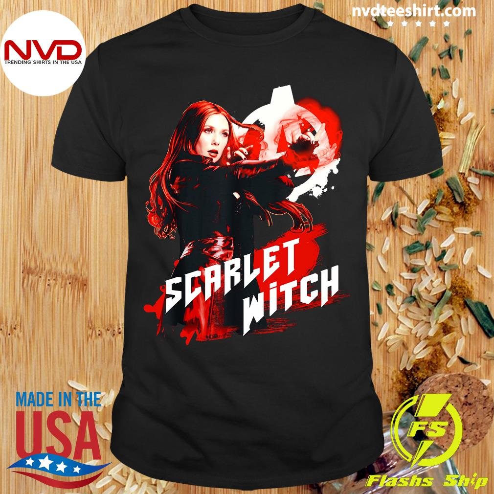 Funny Marvel Infinity War Scarlet Witch Red Splat Graphic T-shirt