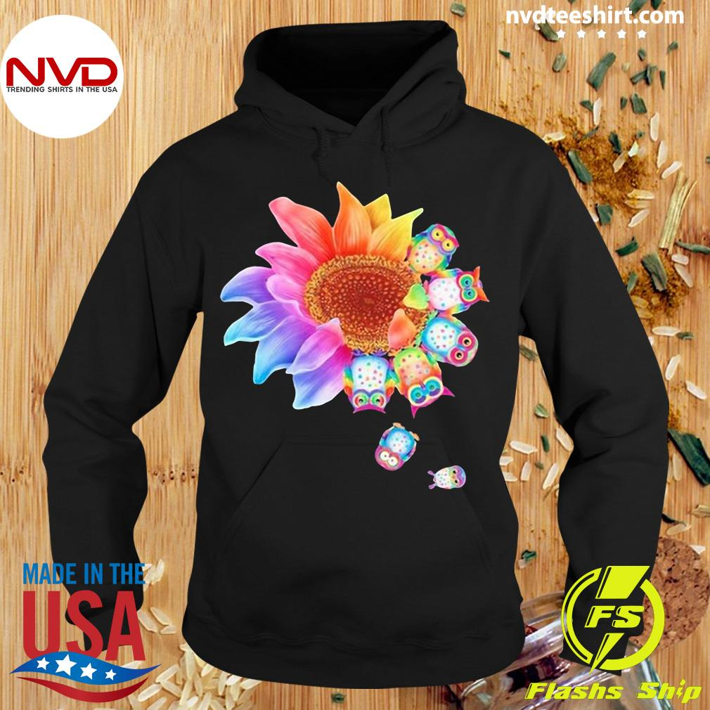 Funny Owl With Flower Owls T-s Hoodie