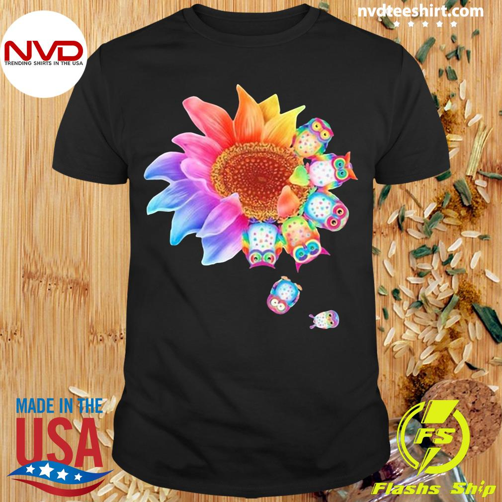 Funny Owl With Flower Owls T-shirt