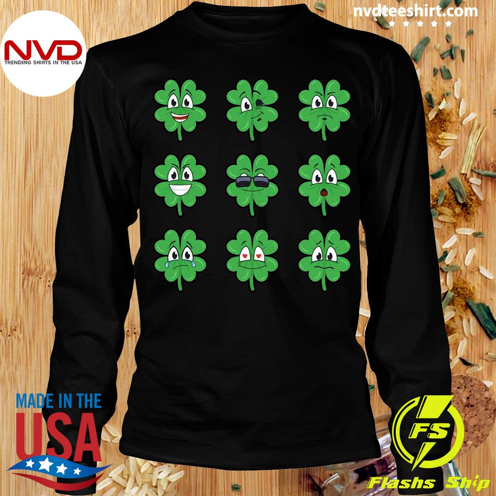 Official Clover Emojis Emoticons Boys Girls St. Patrick's Day T-s Longsleeve