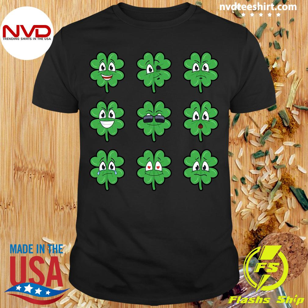 Official Clover Emojis Emoticons Boys Girls St. Patrick's Day T-shirt