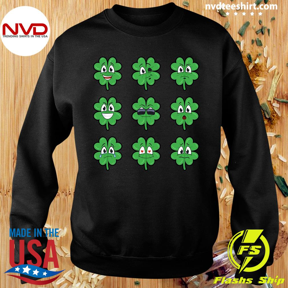 Official Clover Emojis Emoticons Boys Girls St. Patrick's Day T-s Sweater