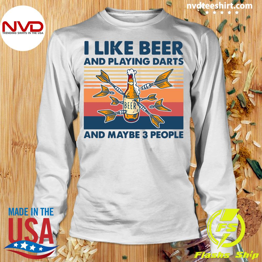 Official Darts I Like Beer And Playing Darts And Maybe 3 People Vintage Retro T-s Longsleeve