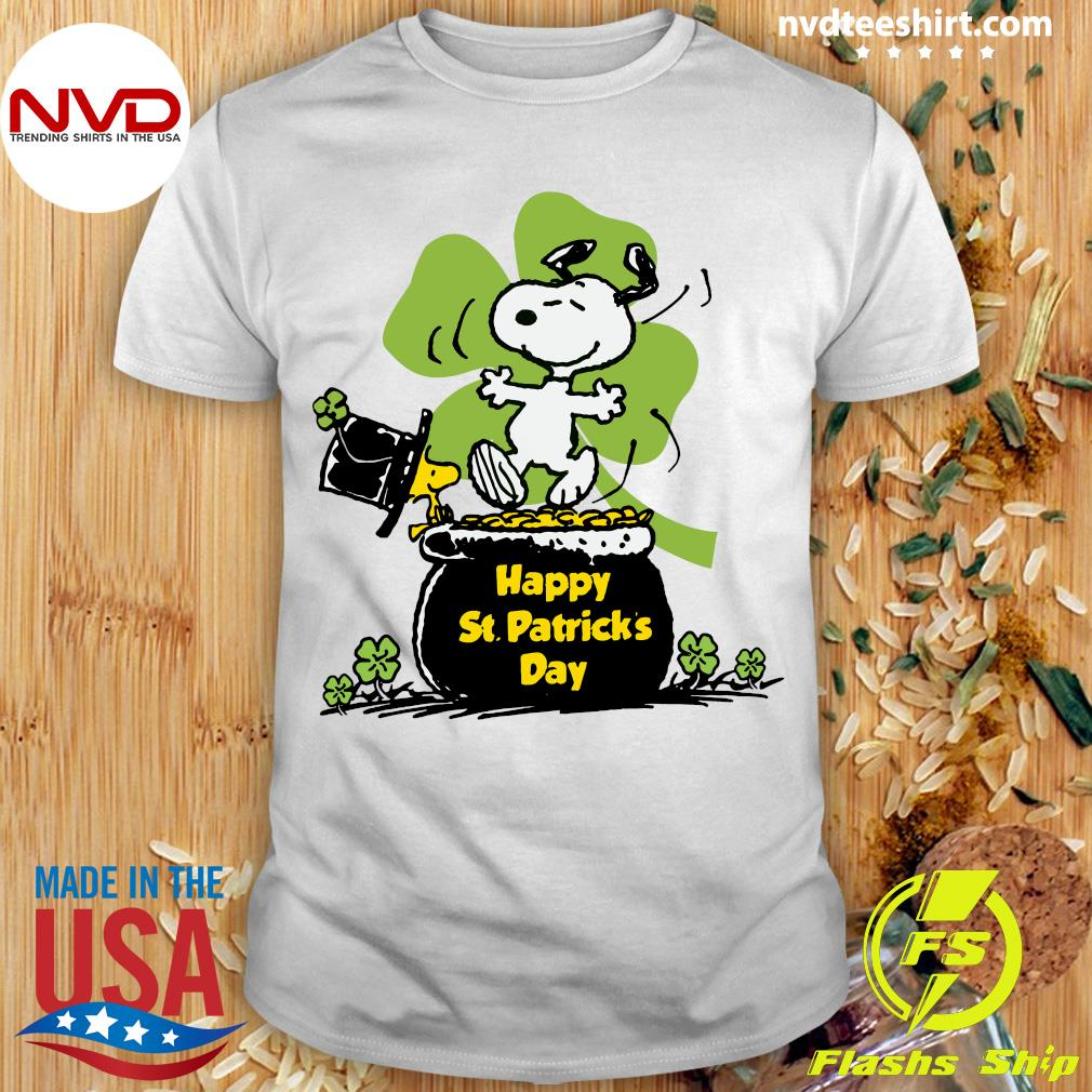 Official Happy St Patrick's Day Snoopy And Woodstock Funny T-shirt
