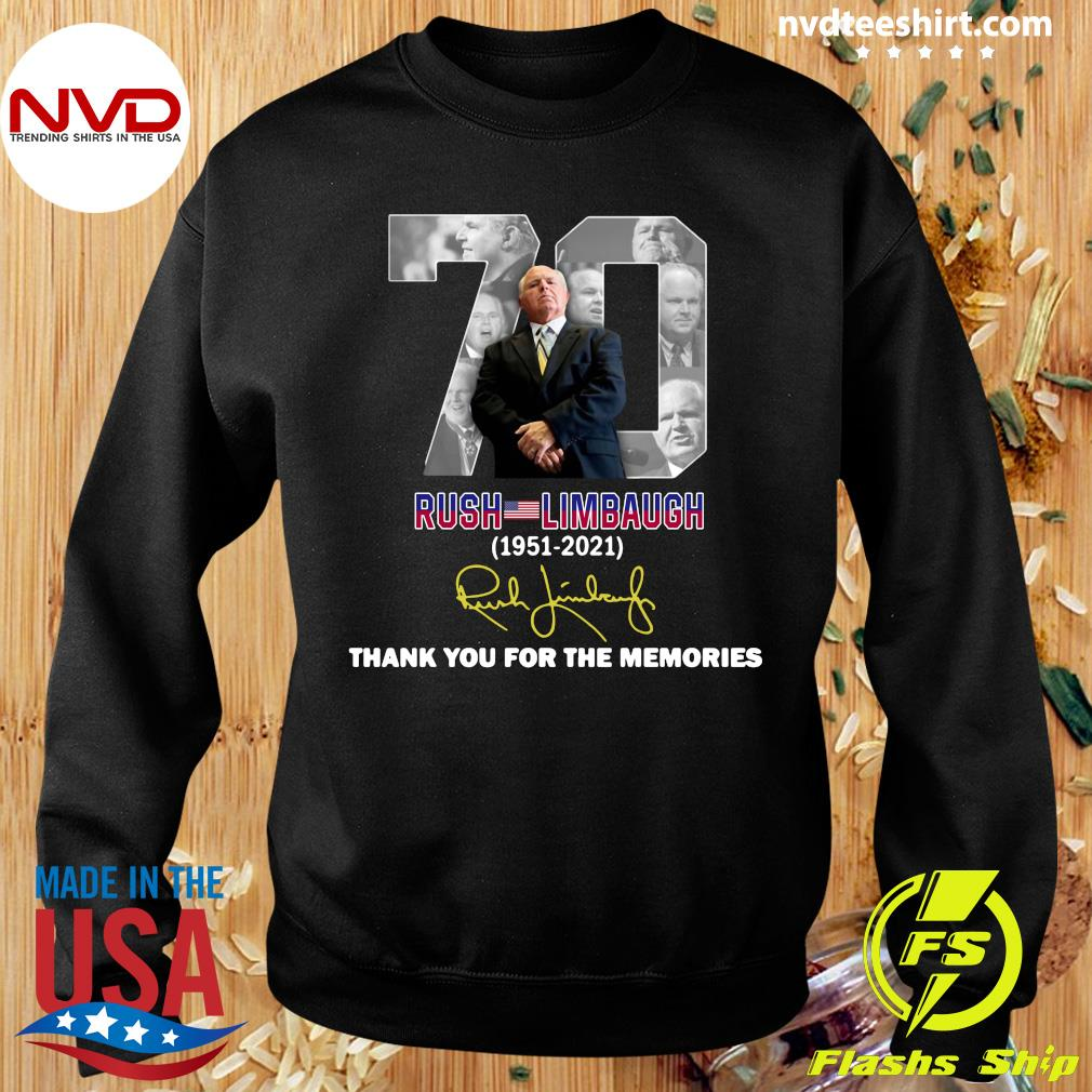 Official Rip Rush Limbaugh 1951 2021 Signature Thank You For The Memories T-s Sweater