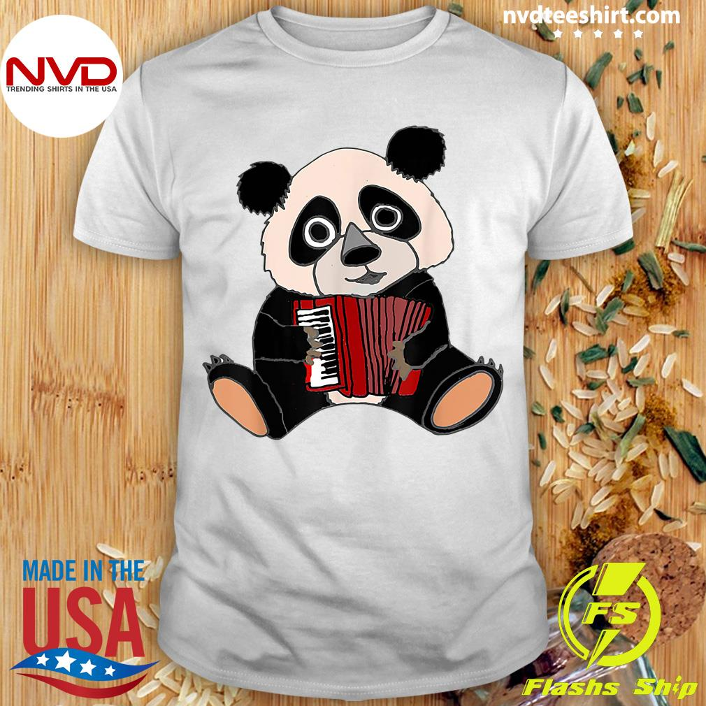 Official Smilemoreteesa Funny Panda Bear Playing Accordion T-shirt