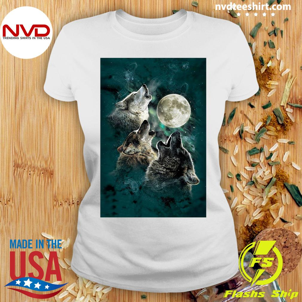 Official The Mountain Men's Three Wolf And Moon T-s Ladies tee