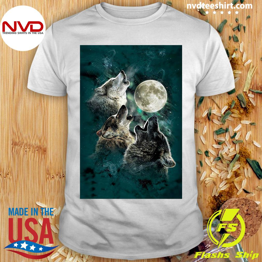 Official The Mountain Men's Three Wolf And Moon T-shirt