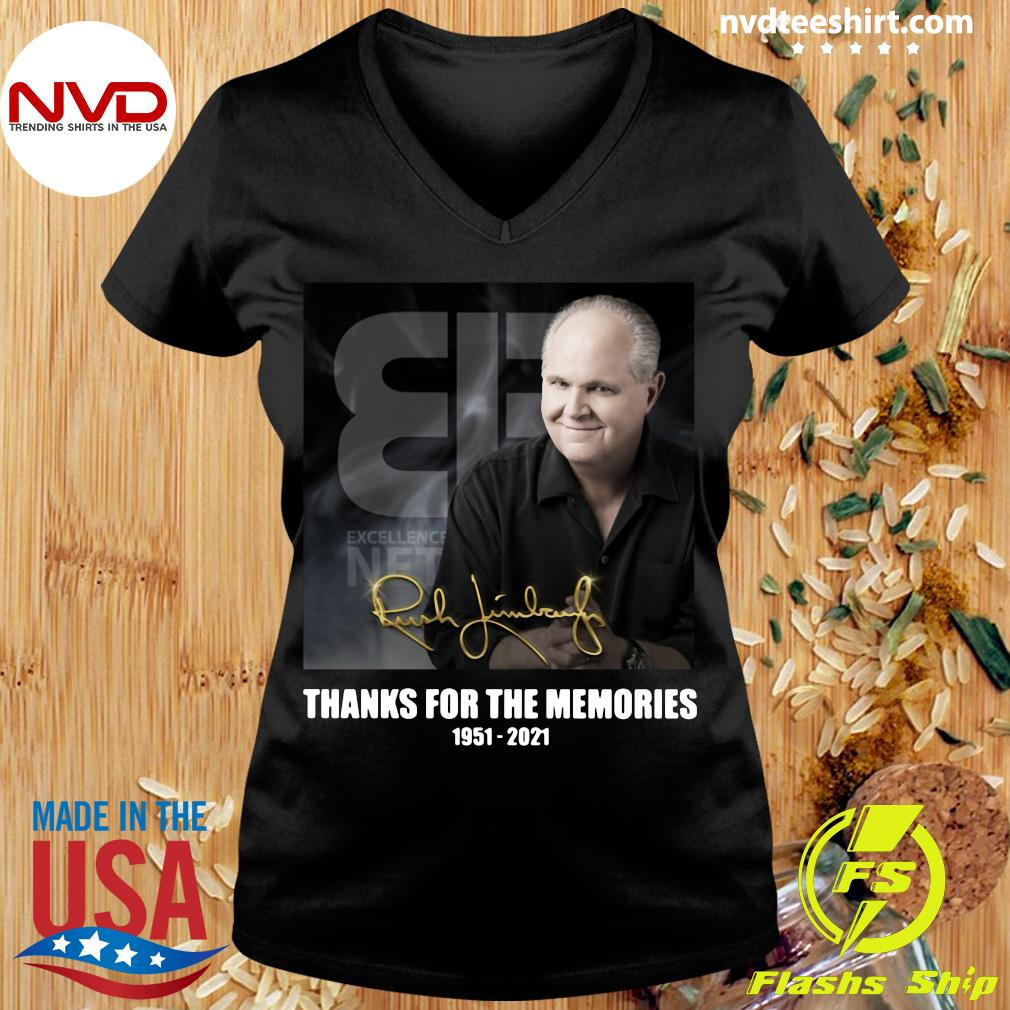Official The Rush Limbaugh Signature Thanks For The Memories 1951 2021 T-s Ladies tee