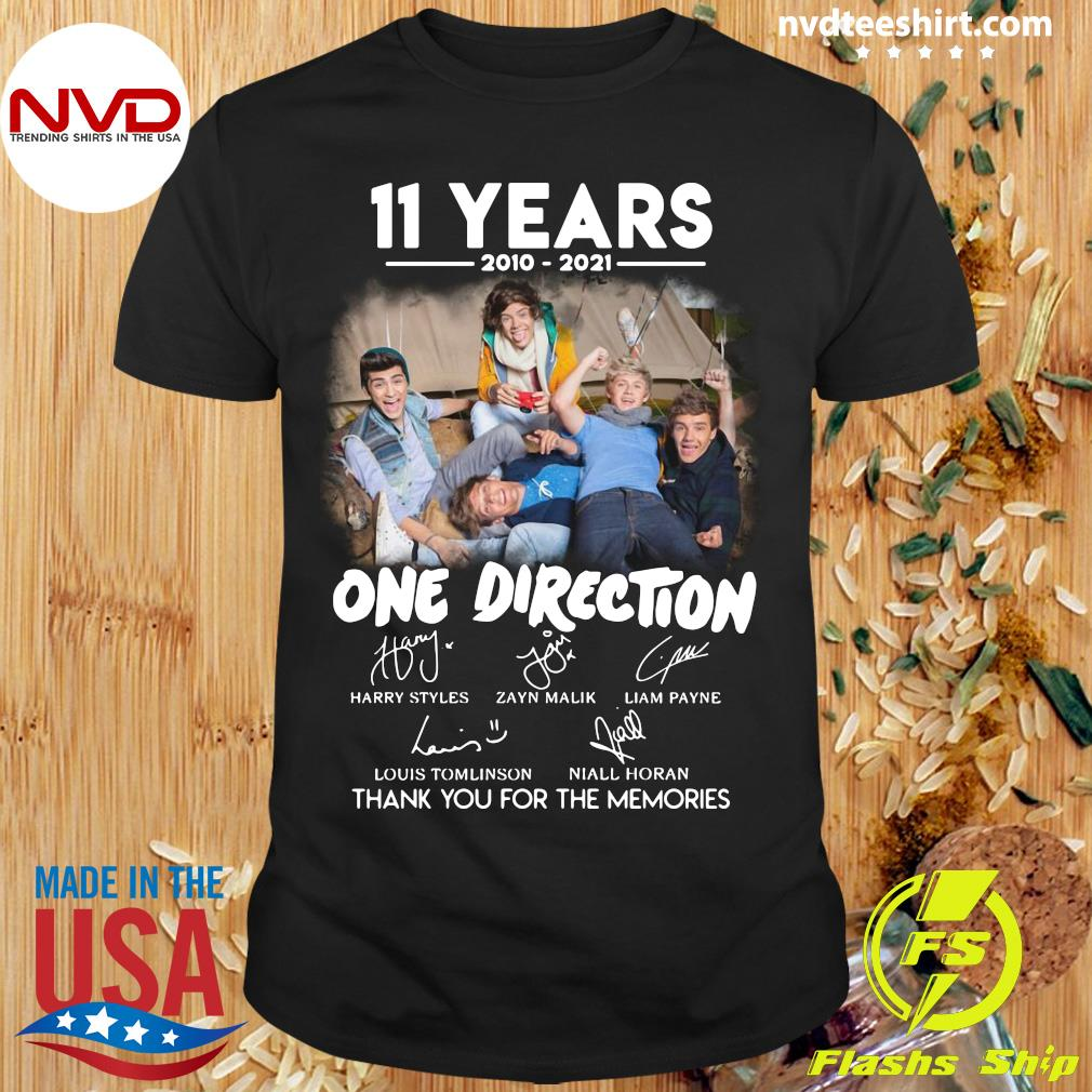 Official 11 Years 2010 2021 One Direction Signatures Thank You For The Memories T-shirt