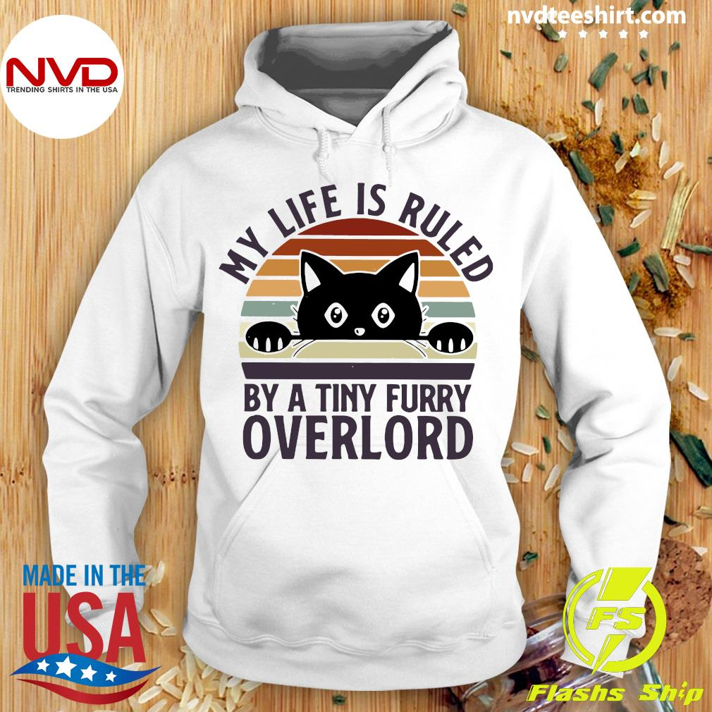 Official Black Cat My Life Is Ruled By A Tiny Furry Overlord Vintage T-s Hoodie