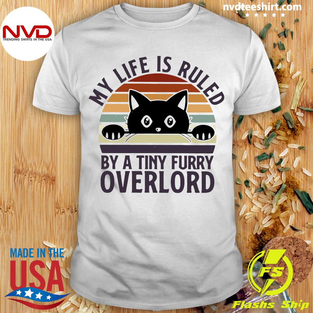 Official Black Cat My Life Is Ruled By A Tiny Furry Overlord Vintage T-shirt