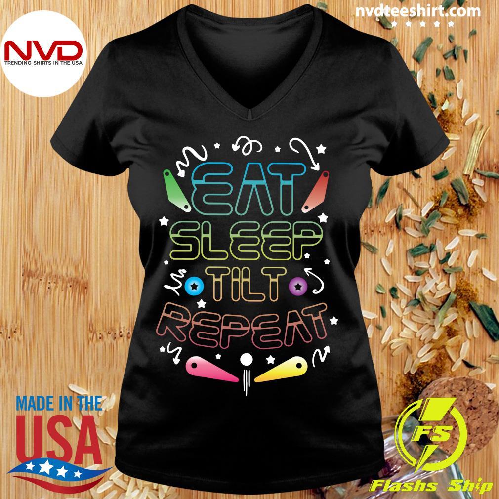 Official Eat Sleep Tilt Repeat Wizard Champion Arcade Games Pinball T-s Ladies tee