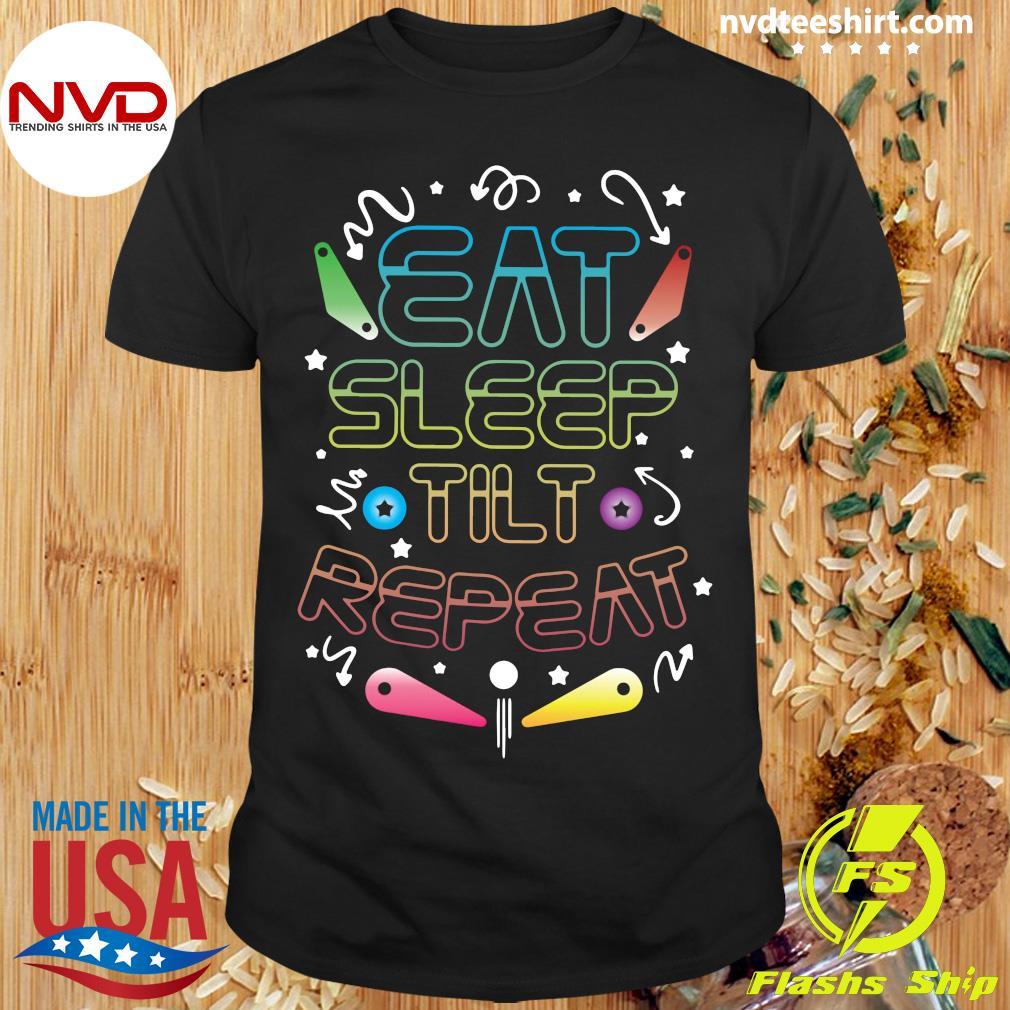 Official Eat Sleep Tilt Repeat Wizard Champion Arcade Games Pinball T-shirt