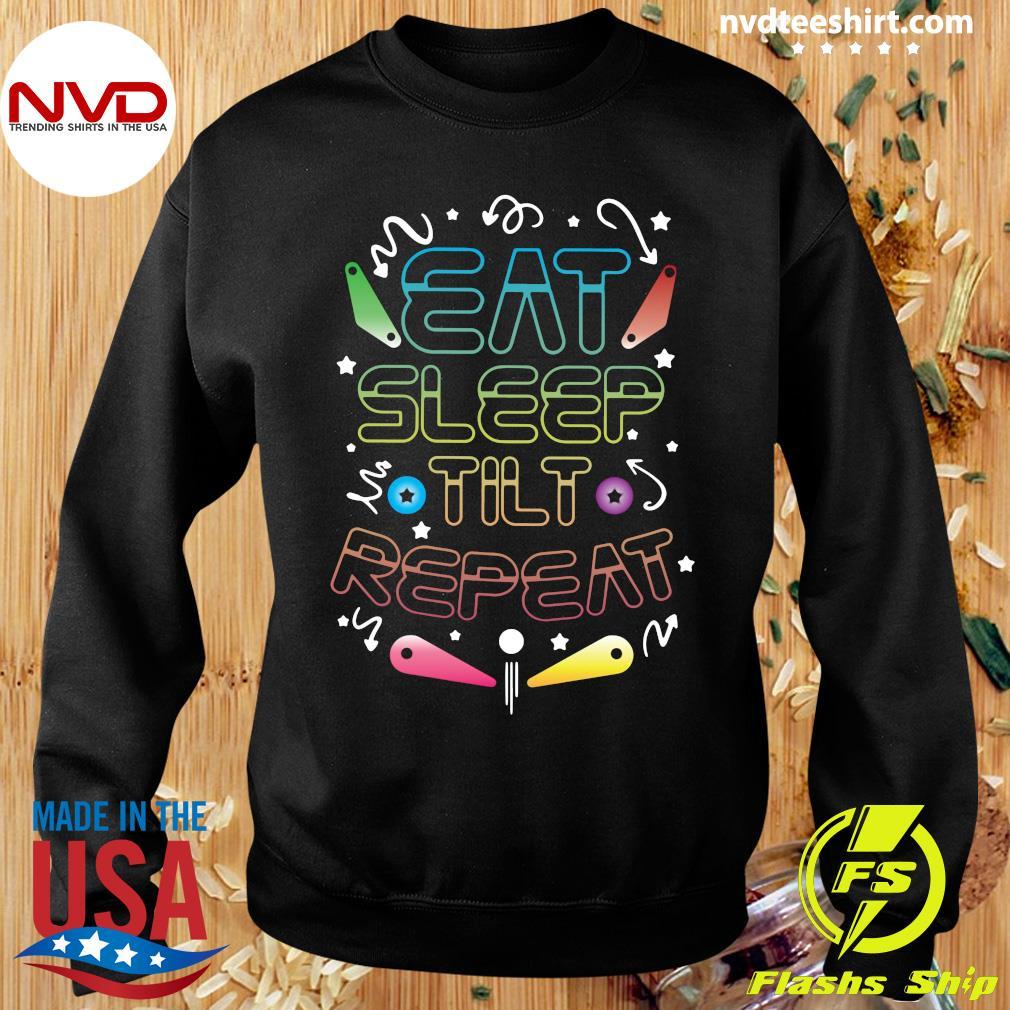 Official Eat Sleep Tilt Repeat Wizard Champion Arcade Games Pinball T-s Sweater