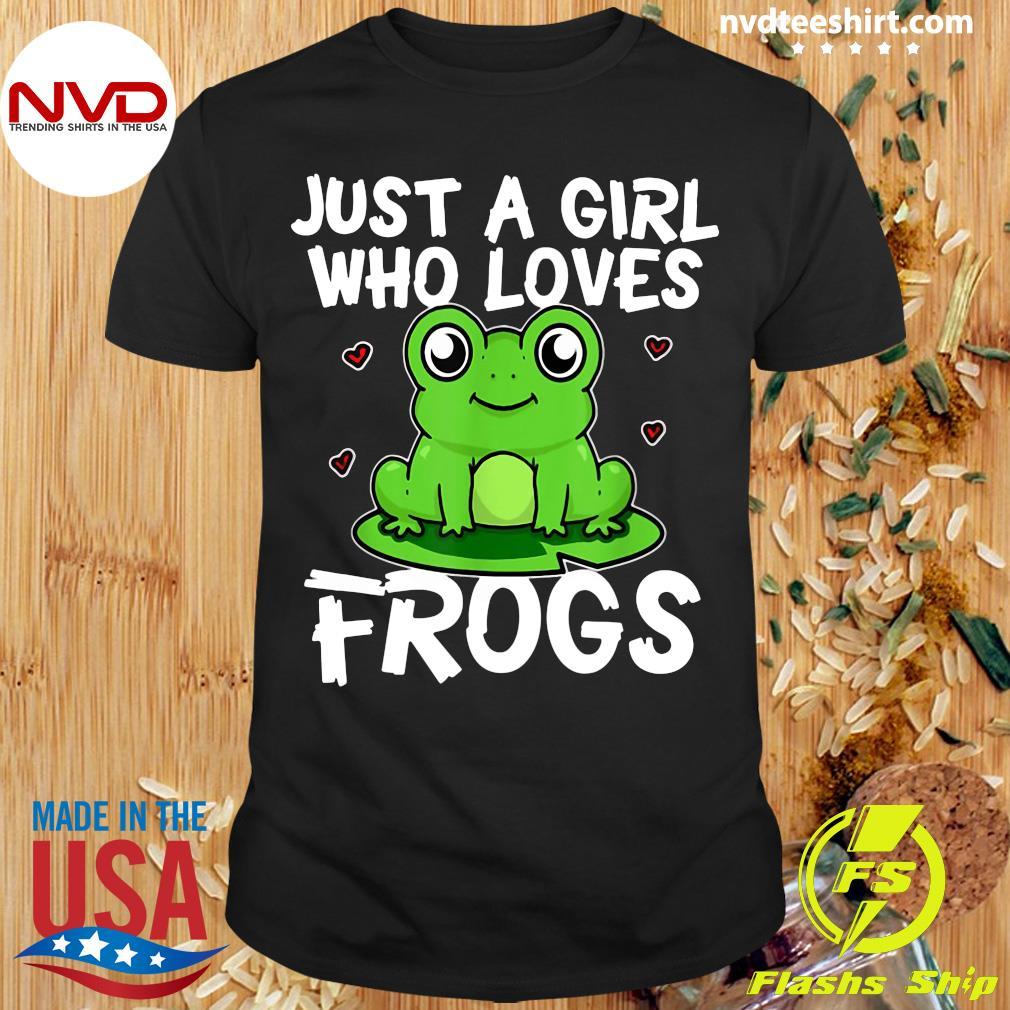Donna Just A Girl Who Loves Frogs Divertente Costume Da Rana Maglietta con Collo a V