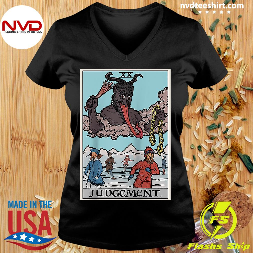 Official Krampus Judgement Tarot Card Funny Christmas Gothi T-s Ladies tee