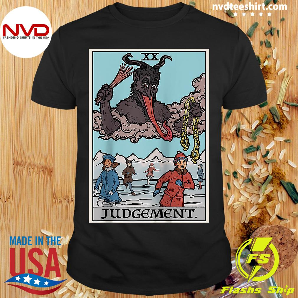 Official Krampus Judgement Tarot Card Funny Christmas Gothi T-shirt