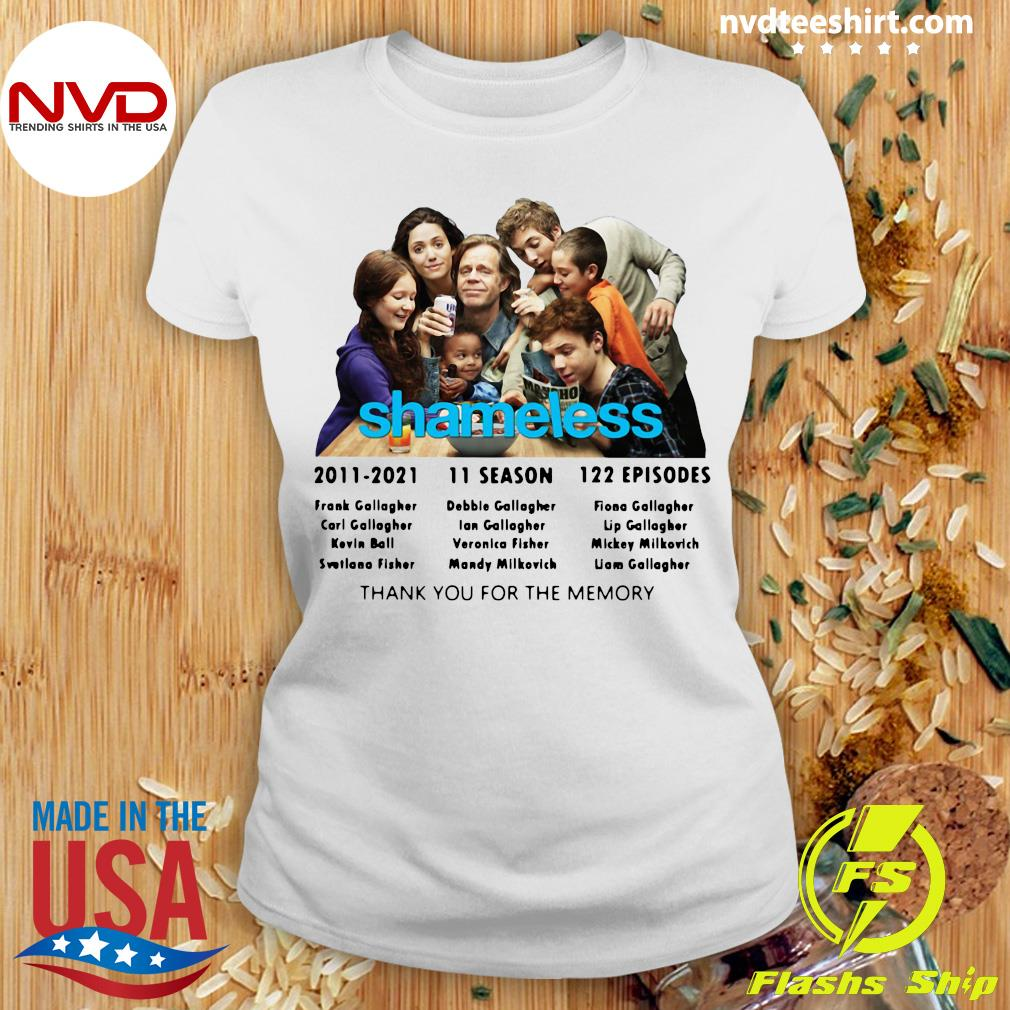 Official Shameless 2011 2021 11 Season 122 Episodes Thank You For The Memory T-s Ladies tee