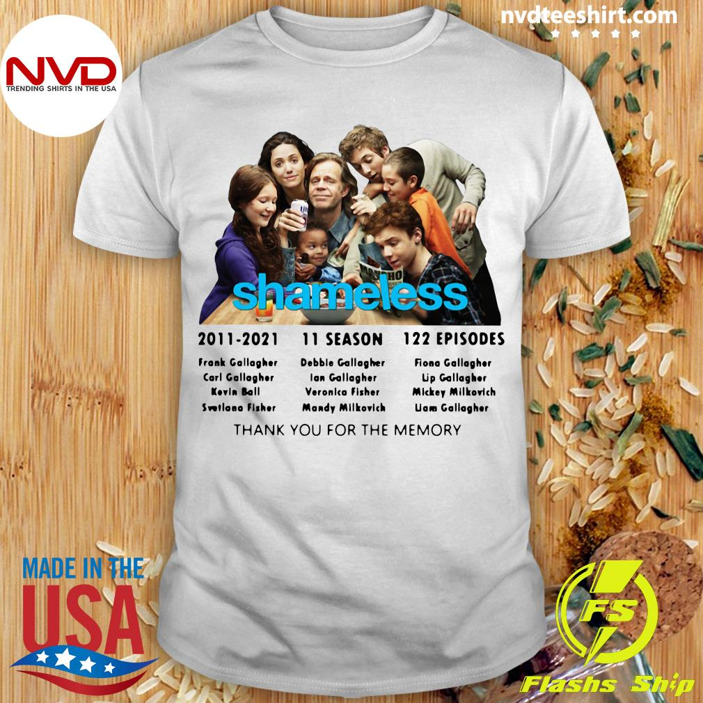 Official Shameless 2011 2021 11 Season 122 Episodes Thank You For The Memory T-shirt
