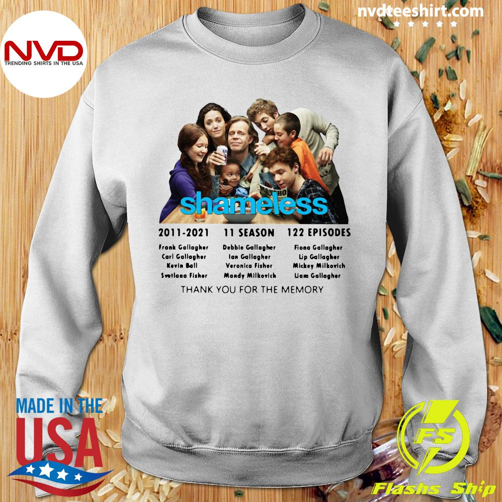 Official Shameless 2011 2021 11 Season 122 Episodes Thank You For The Memory T-s Sweater
