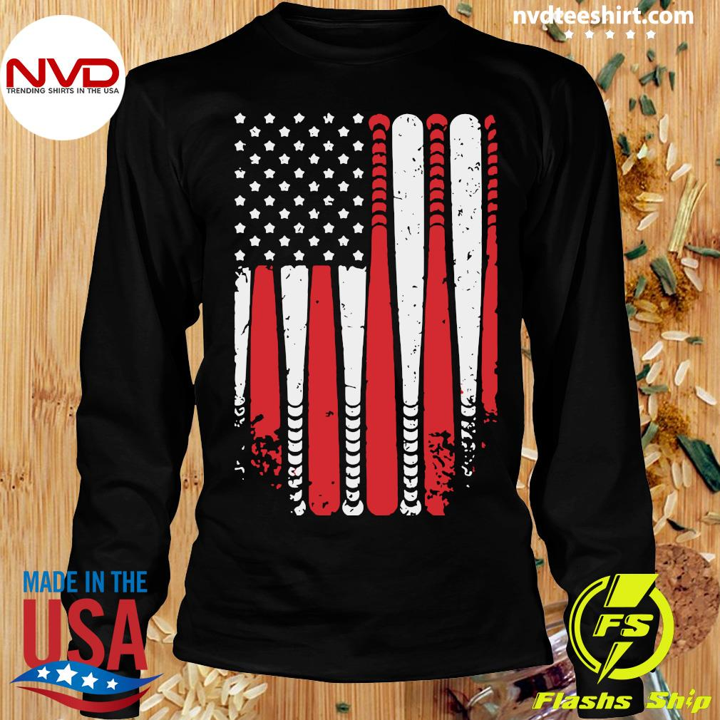 American Flag Baseball Funny T-s Longsleeve
