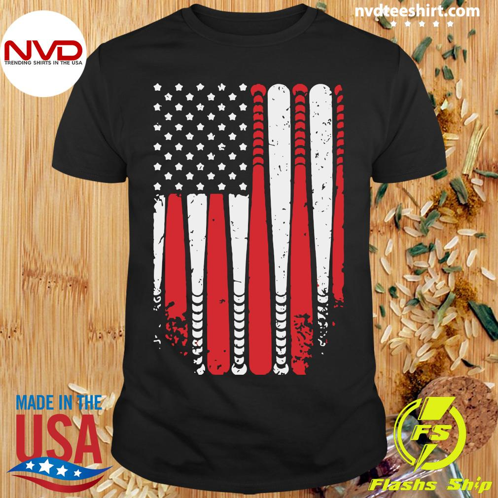 American Flag Baseball Funny T-shirt