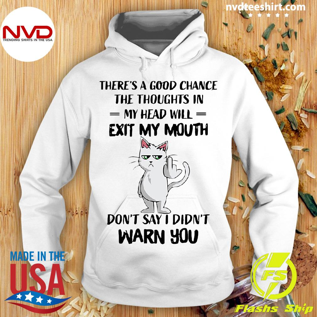 Funny Cat There's A Good Chance The Thoughts In My Head Will Exit My Mouth Don't Say I Didn't Warn You T-s Hoodie