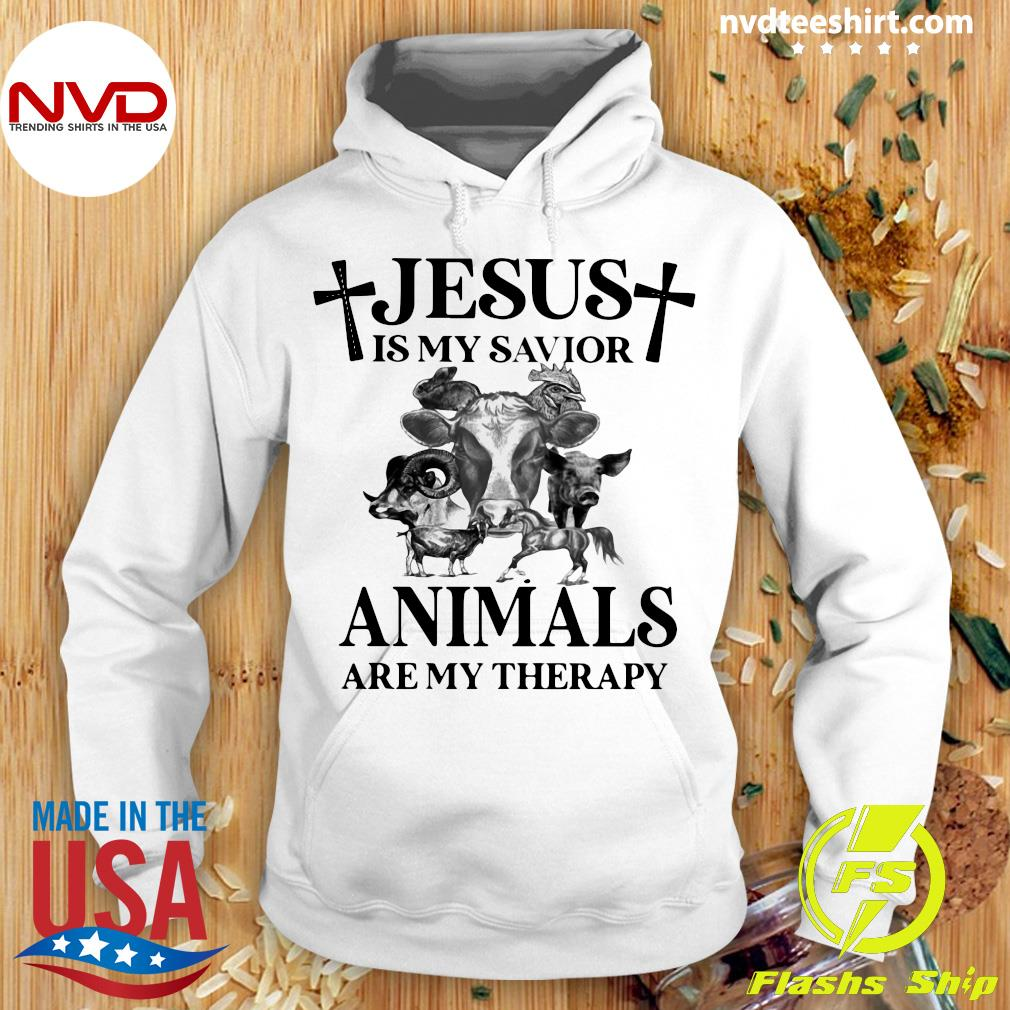 Funny Cow Jesus Is My Savior Animals Are My Therapy T-s Hoodie