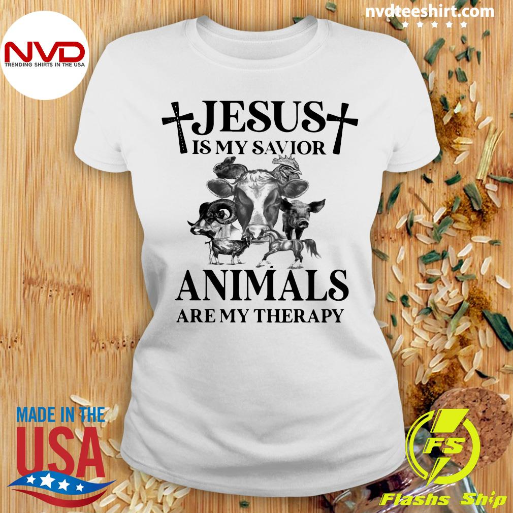 Funny Cow Jesus Is My Savior Animals Are My Therapy T-s Ladies tee