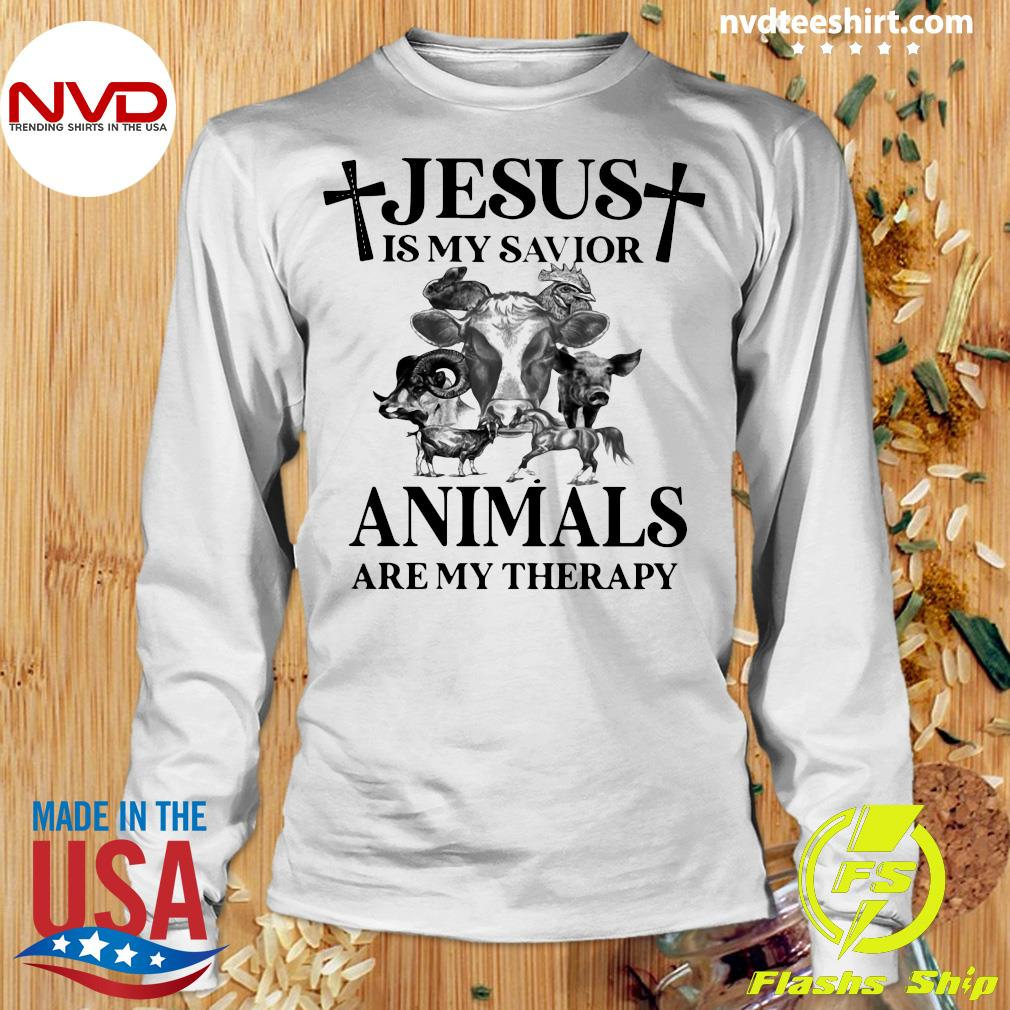 Funny Cow Jesus Is My Savior Animals Are My Therapy T-s Longsleeve