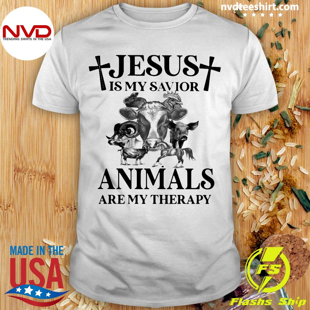 Funny Cow Jesus Is My Savior Animals Are My Therapy T-shirt