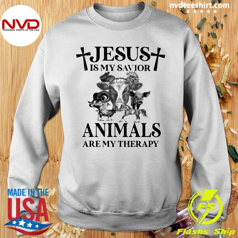 Funny Cow Jesus Is My Savior Animals Are My Therapy T-s Sweater