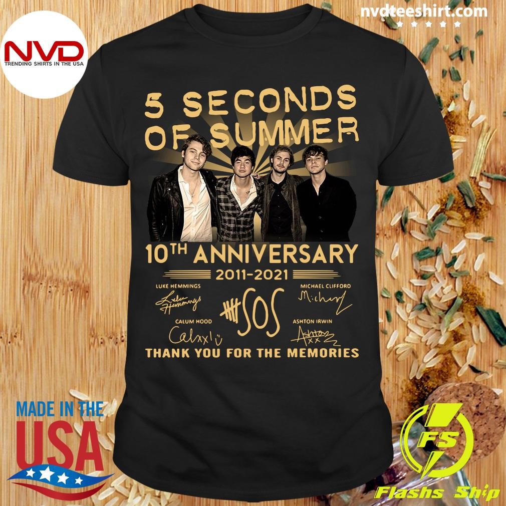 Official 5 Seconds OF Summer 10th anniversary 2011-2021 signature thank you for the memories T-shirt