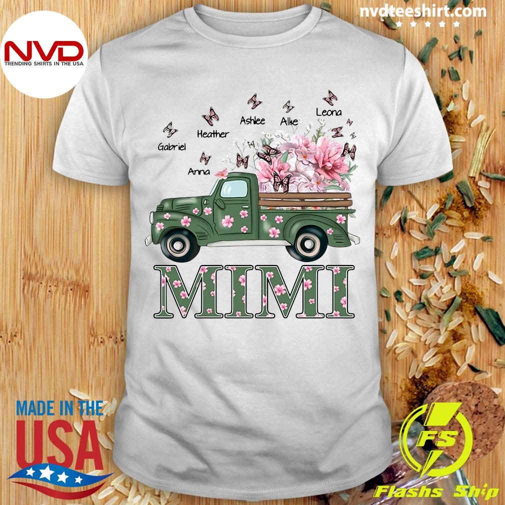 Official Mimi With Grandkids Truck Flower T-shirt