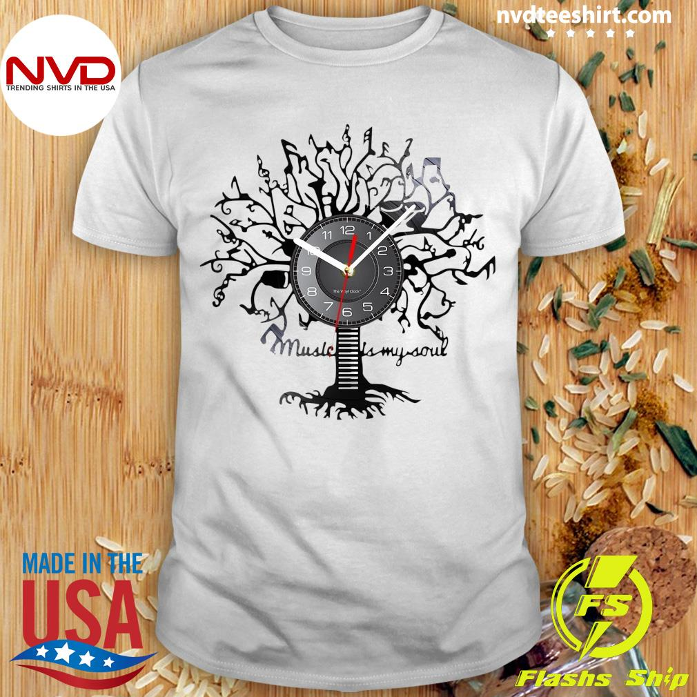 Official Music Is My Soul Tree Wall Clock T-shirt