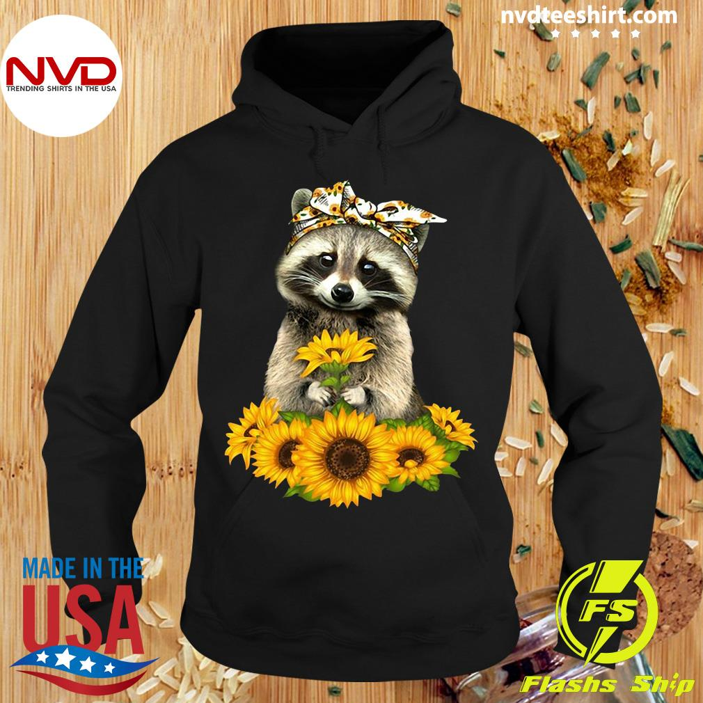 Official Racoon With Sunflower Floral Bandana T-s Hoodie