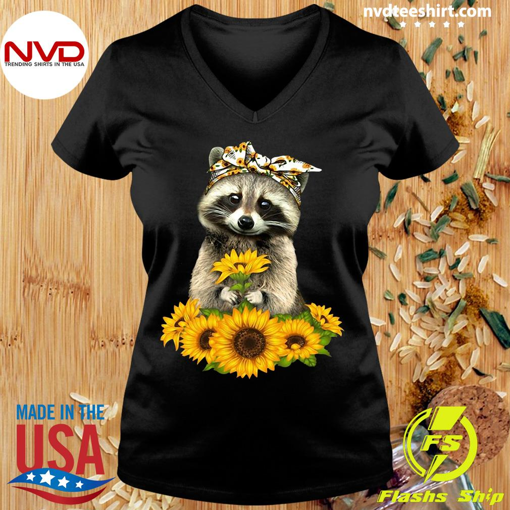 Official Racoon With Sunflower Floral Bandana T-s Ladies tee