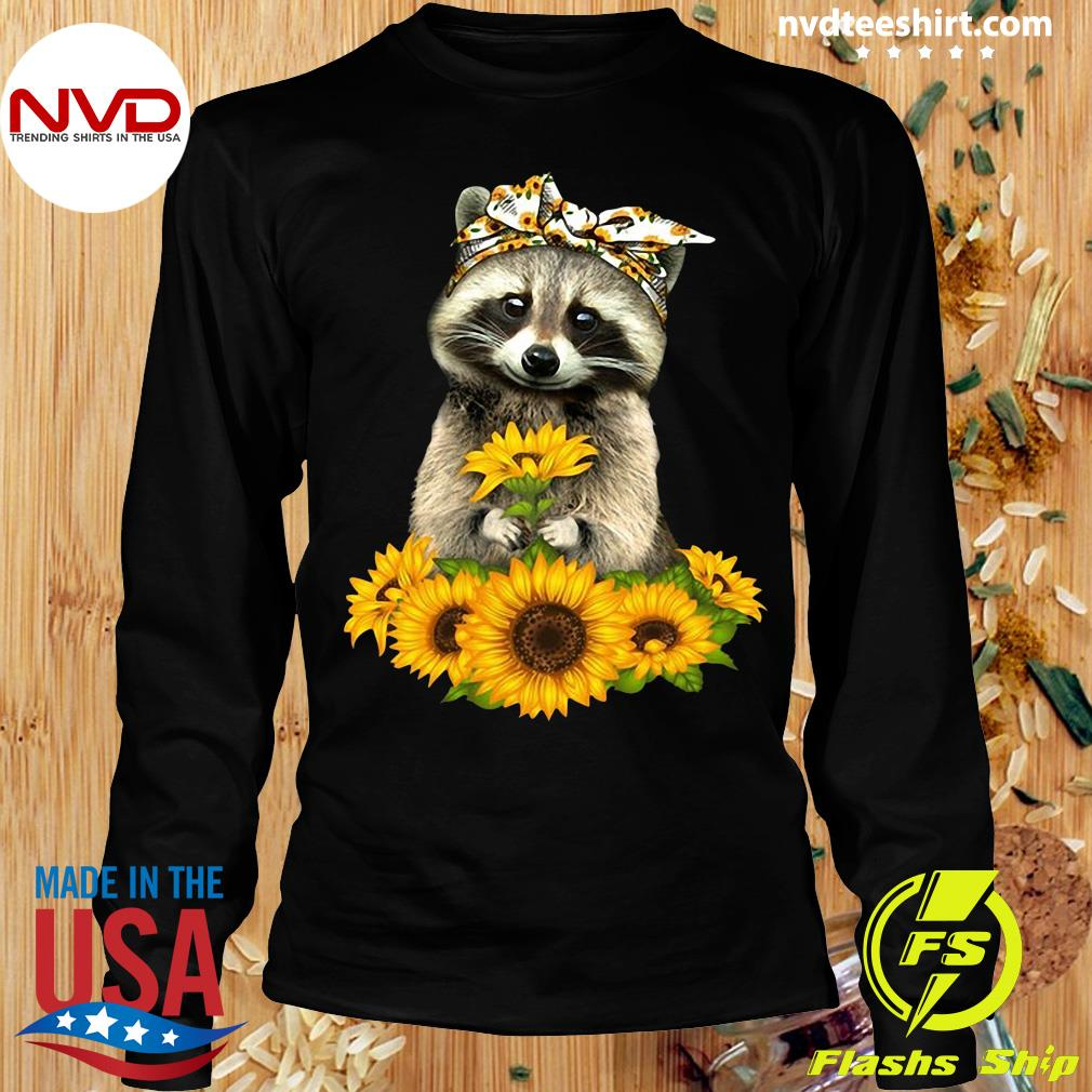 Official Racoon With Sunflower Floral Bandana T-s Longsleeve