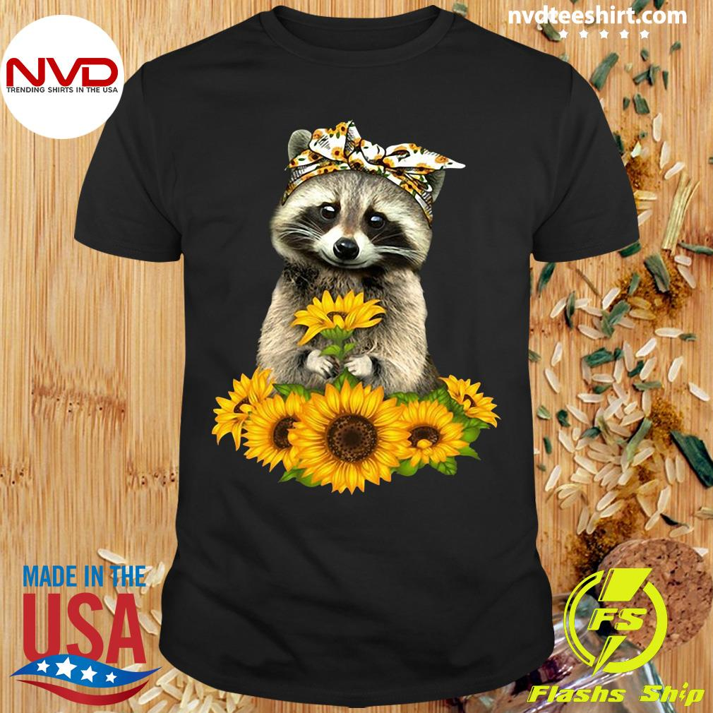 Official Racoon With Sunflower Floral Bandana T-shirt