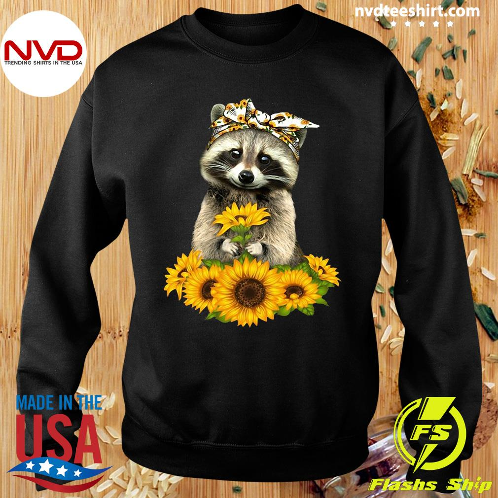 Official Racoon With Sunflower Floral Bandana T-s Sweater