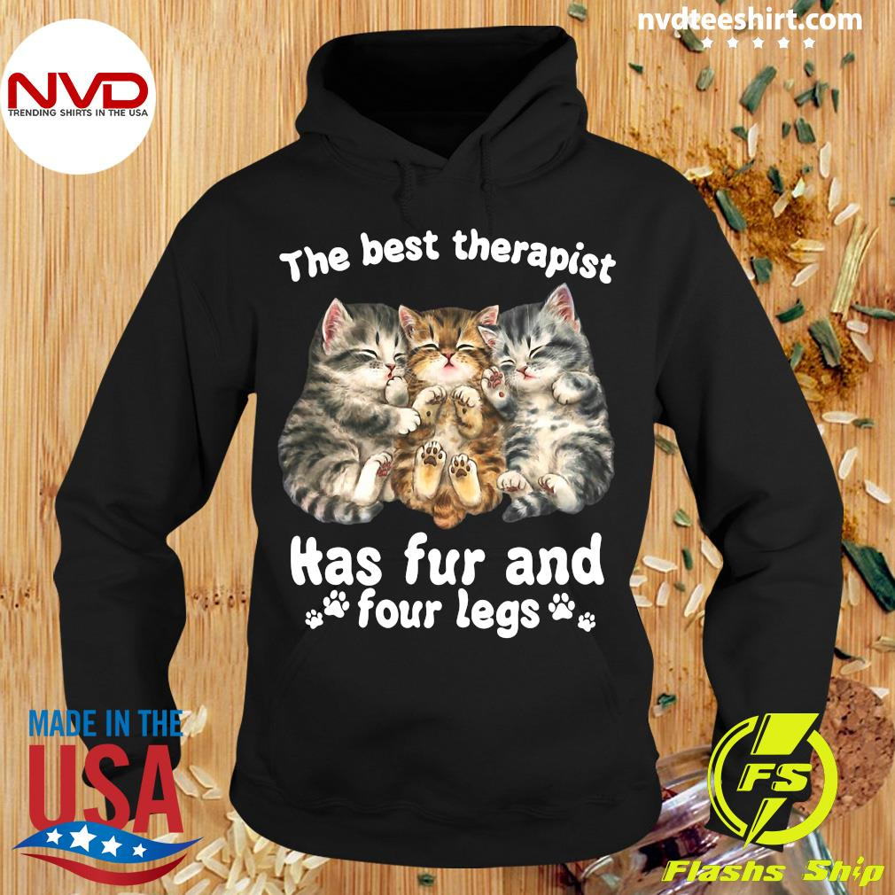 Official The Best Therapist Has Fur And Four Legs Cat Lover Gift Cat T-s Hoodie