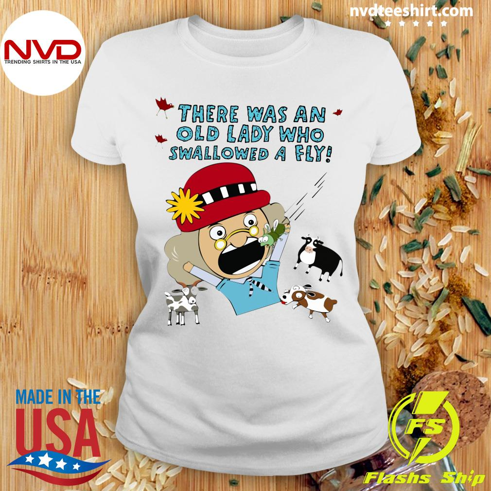 Official There Was An Old Lady Who Swallowed A Fly T-s Ladies tee