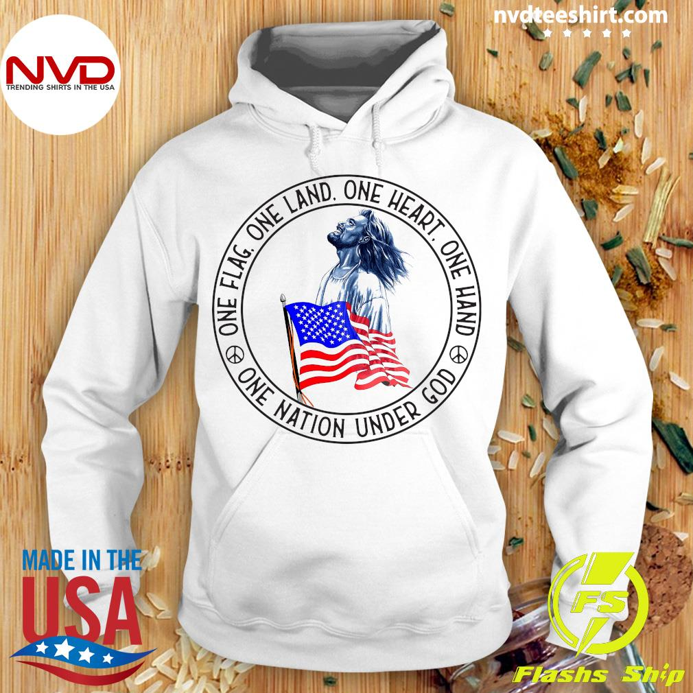 Funny Jesus One Flag One Land One Heart One Hand One Nation Under God American Flag T-s Hoodie