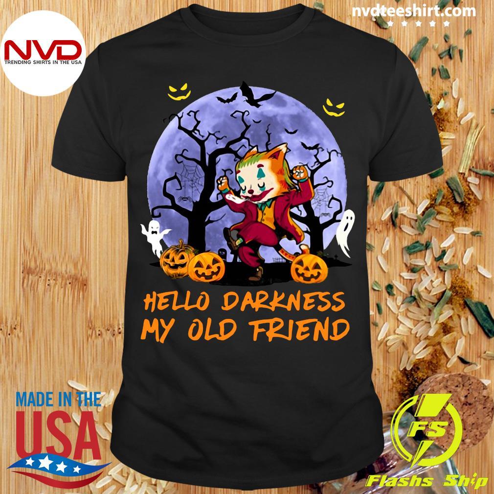 Joker Cat Hello Darkness My Old Friend Halloween T-Shirt Masswerks Store
