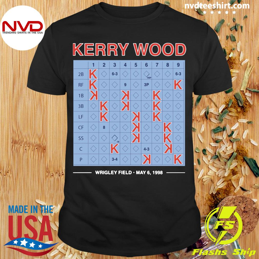 Official Kerry Wood 20 Strikeout Scorecard Shirt