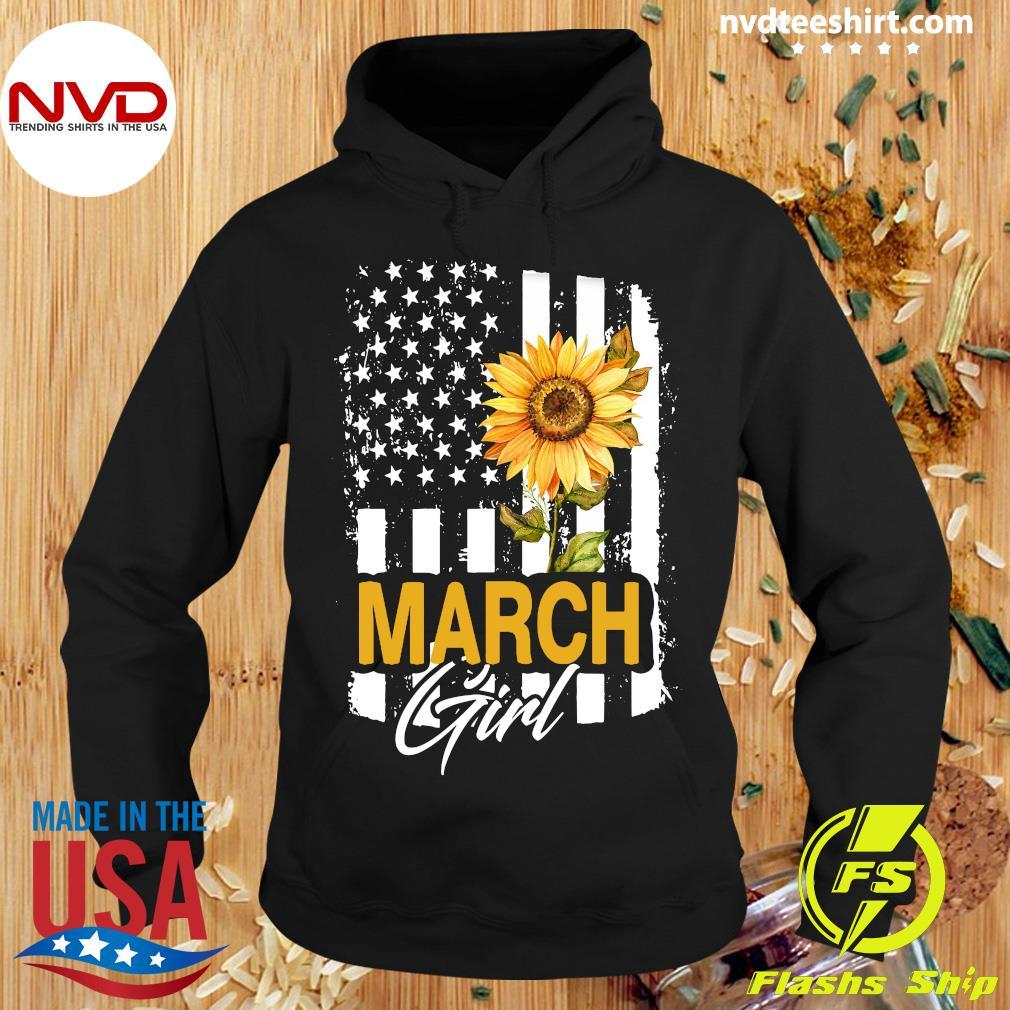 Sunflowers American March Girl Flag Shirt Hoodie