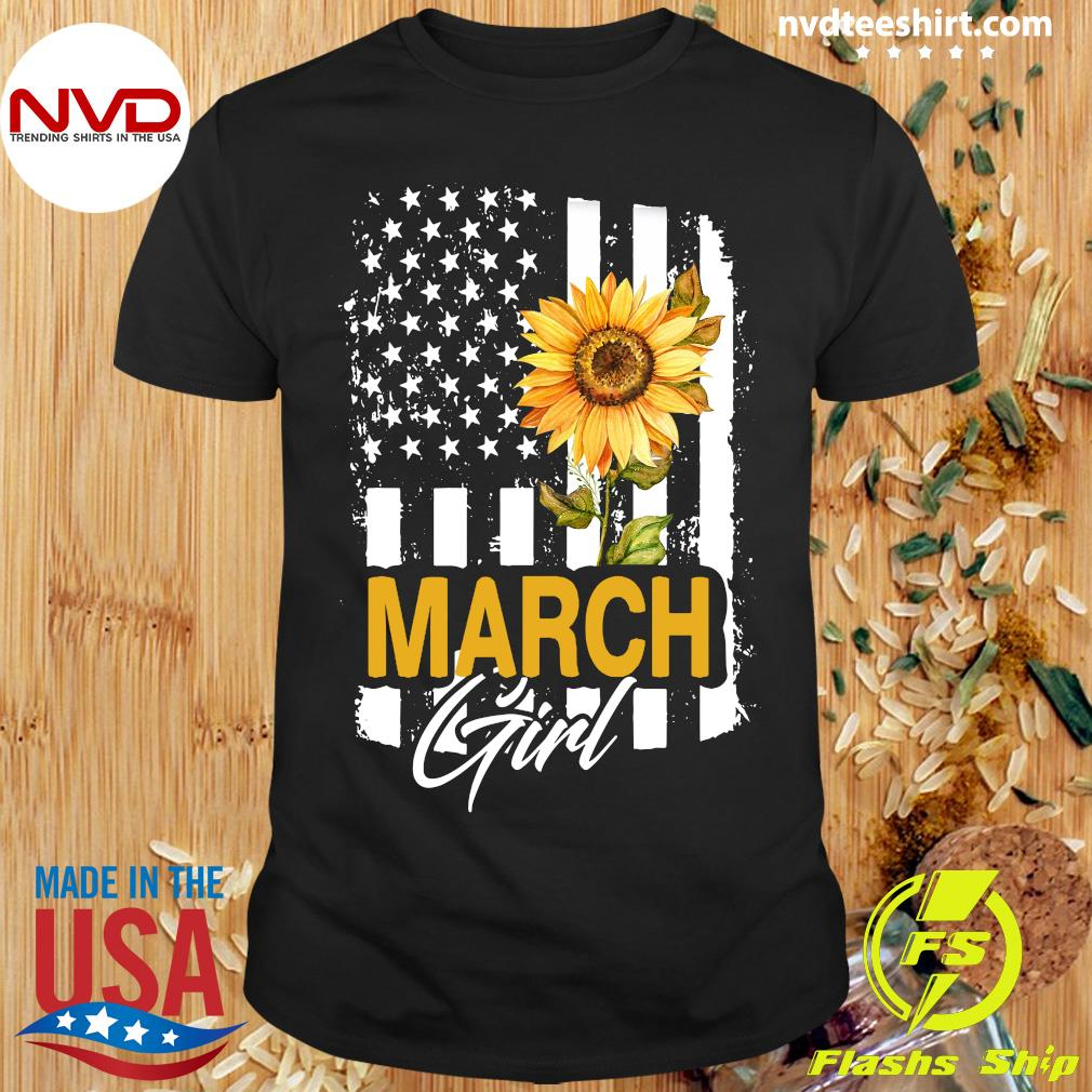 Sunflowers American March Girl Flag Shirt